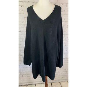 J. Jill Black Knit Tunic Sweater w Side Slits